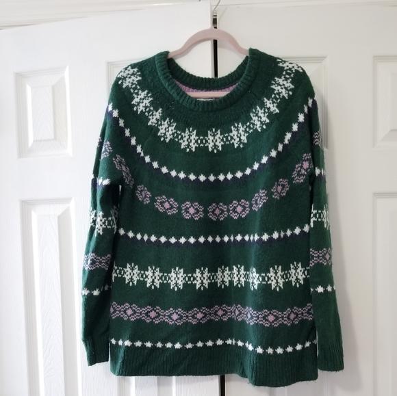 Sonoma winter sweater, green, white, pink
